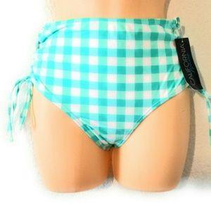 California Waves Women High Waist Lace Up Bikini B